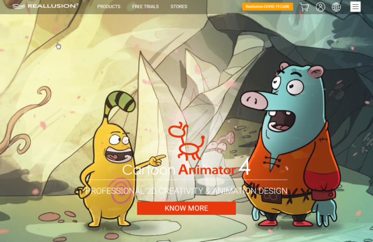 Screenshot of the Reallusion website featuring Cartoon Animator 4