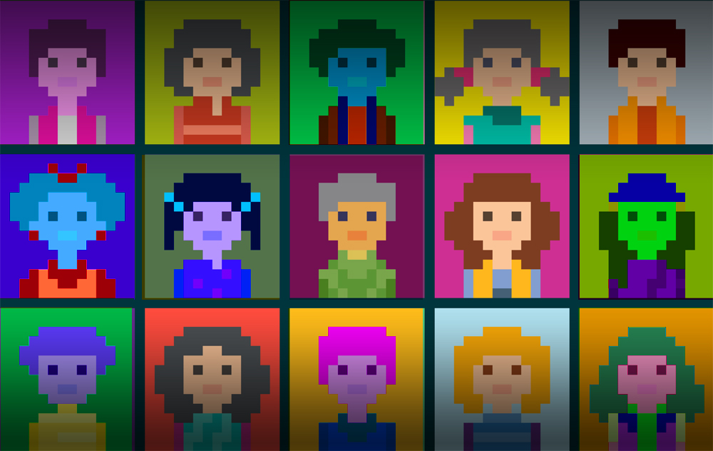 Pixel Avatars of all different colors and types