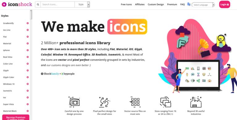 Iconshock.com website main page